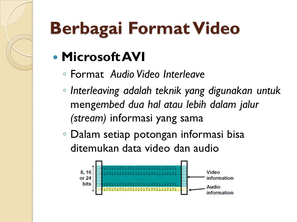 Berbagai Format Video Microsoft AVI Format Audio Video Interleave
