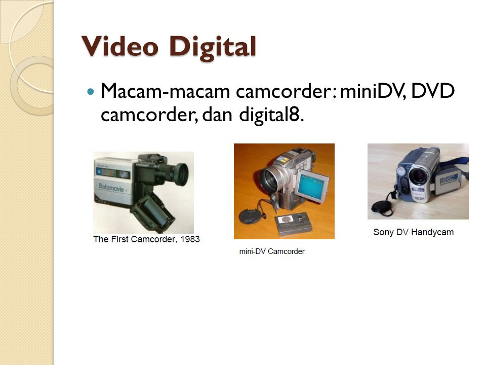 Video Digital Macam-macam camcorder: miniDV, DVD camcorder, dan digital8.
