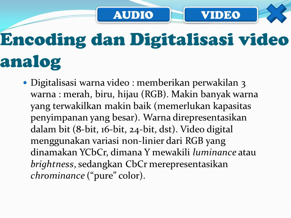 Encoding dan Digitalisasi video analog