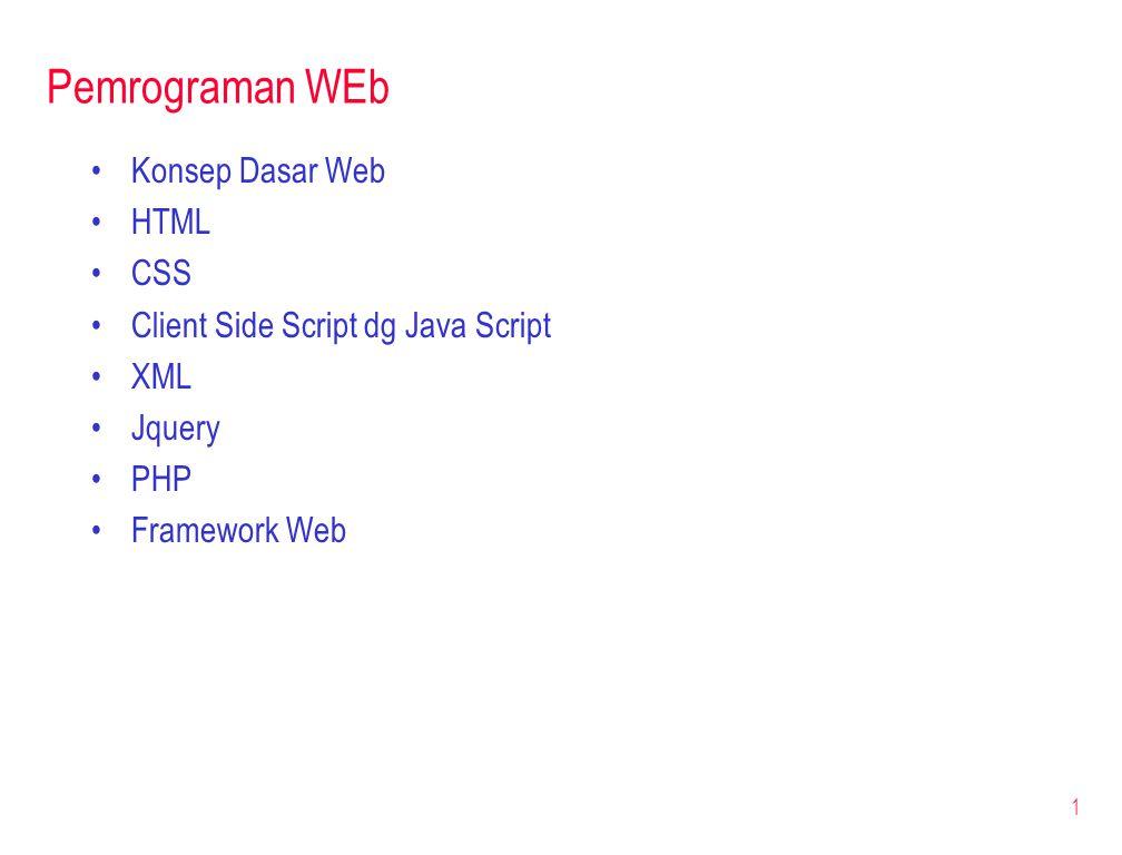 Pemrograman WEb Konsep Dasar Web HTML CSS