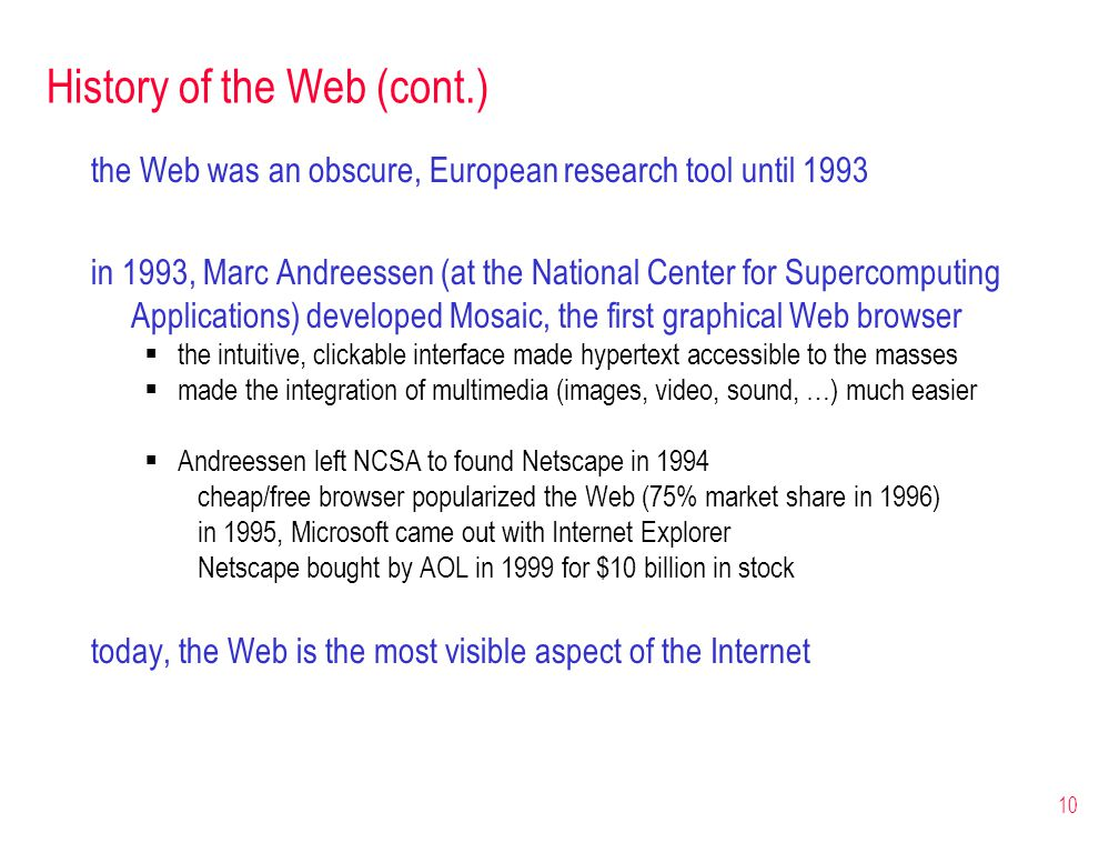History of the Web (cont.)