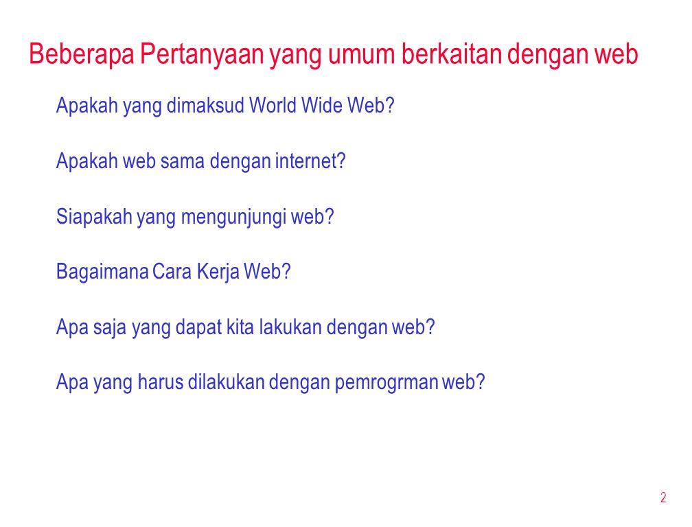 Beberapa Pertanyaan yang umum berkaitan dengan web