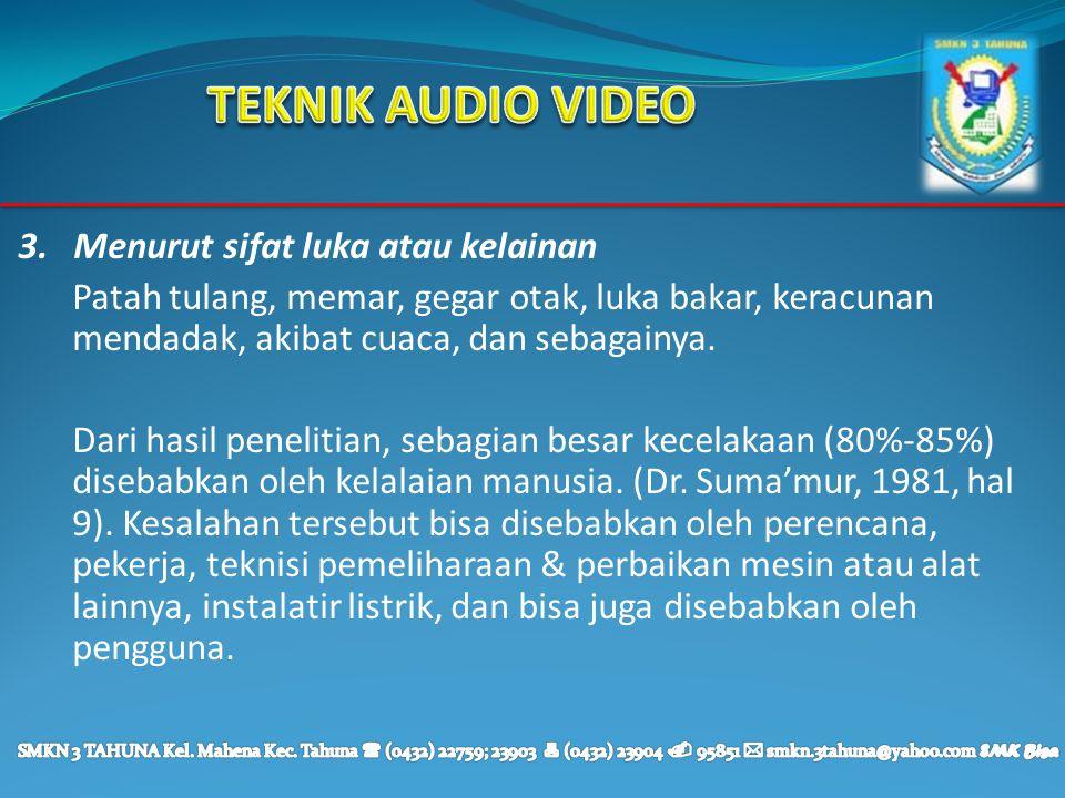 TEKNIK AUDIO VIDEO 3. Menurut sifat luka atau kelainan