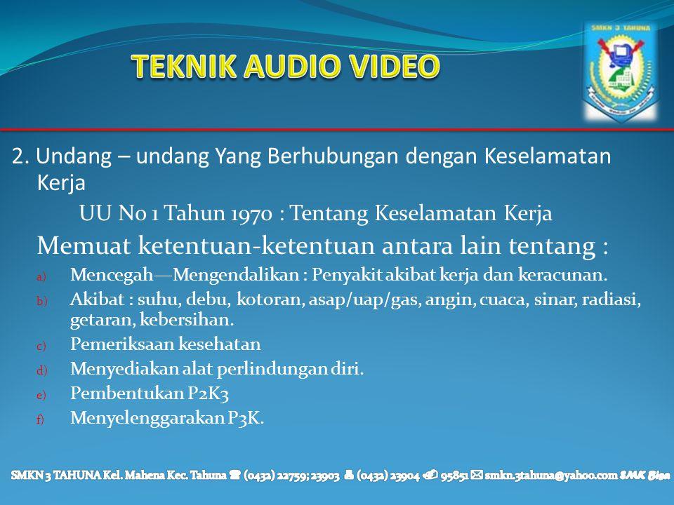 TEKNIK AUDIO VIDEO Memuat ketentuan-ketentuan antara lain tentang :
