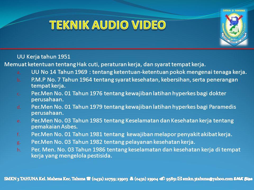 TEKNIK AUDIO VIDEO UU Kerja tahun 1951