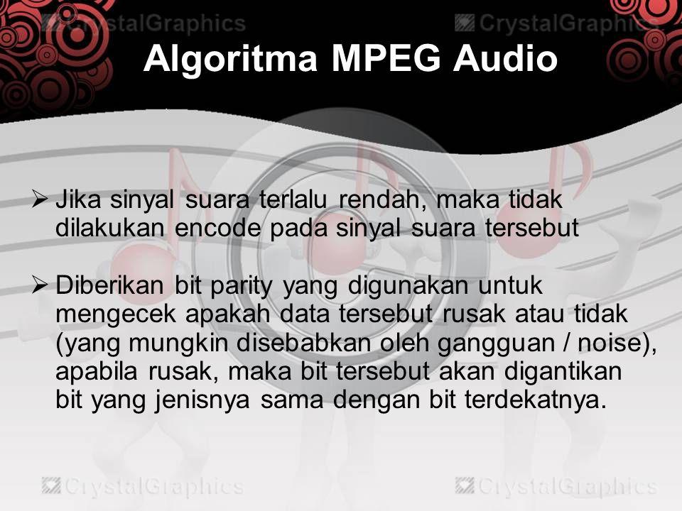 Algoritma MPEG Audio Jika sinyal suara terlalu rendah, maka tidak dilakukan encode pada sinyal suara tersebut.