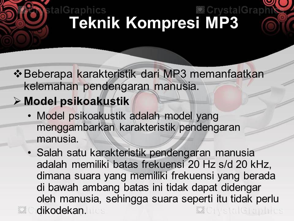Teknik Kompresi MP3 Beberapa karakteristik dari MP3 memanfaatkan kelemahan pendengaran manusia. Model psikoakustik.