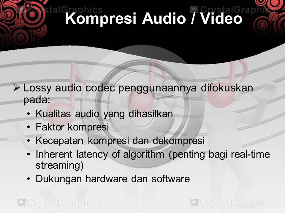 Kompresi Audio / Video Lossy audio codec penggunaannya difokuskan pada: Kualitas audio yang dihasilkan.
