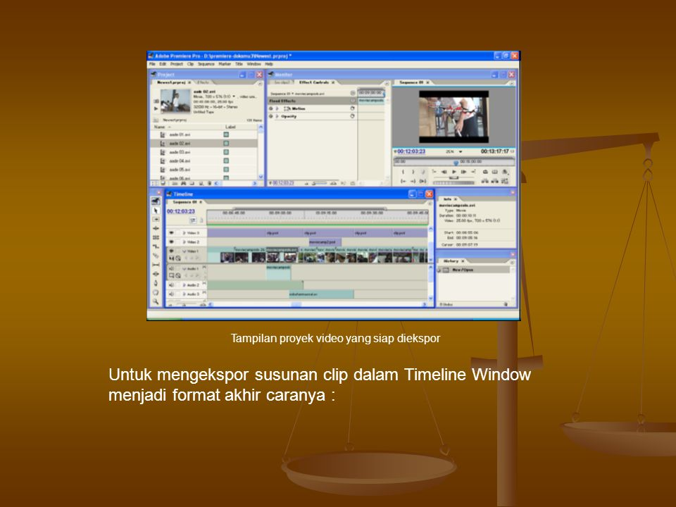 Tampilan proyek video yang siap diekspor
