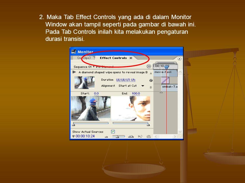 2. Maka Tab Effect Controls yang ada di dalam Monitor Window akan tampil seperti pada gambar di bawah ini.