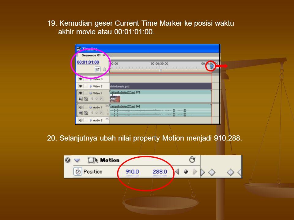 19. Kemudian geser Current Time Marker ke posisi waktu akhir movie atau 00:01:01:00.