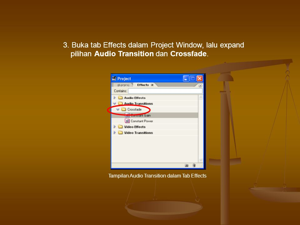 3. Buka tab Effects dalam Project Window, lalu expand pilihan Audio Transition dan Crossfade.