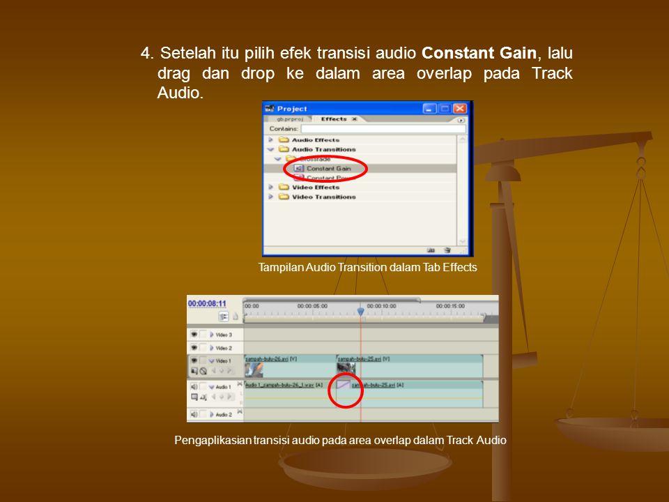 4. Setelah itu pilih efek transisi audio Constant Gain, lalu drag dan drop ke dalam area overlap pada Track Audio.