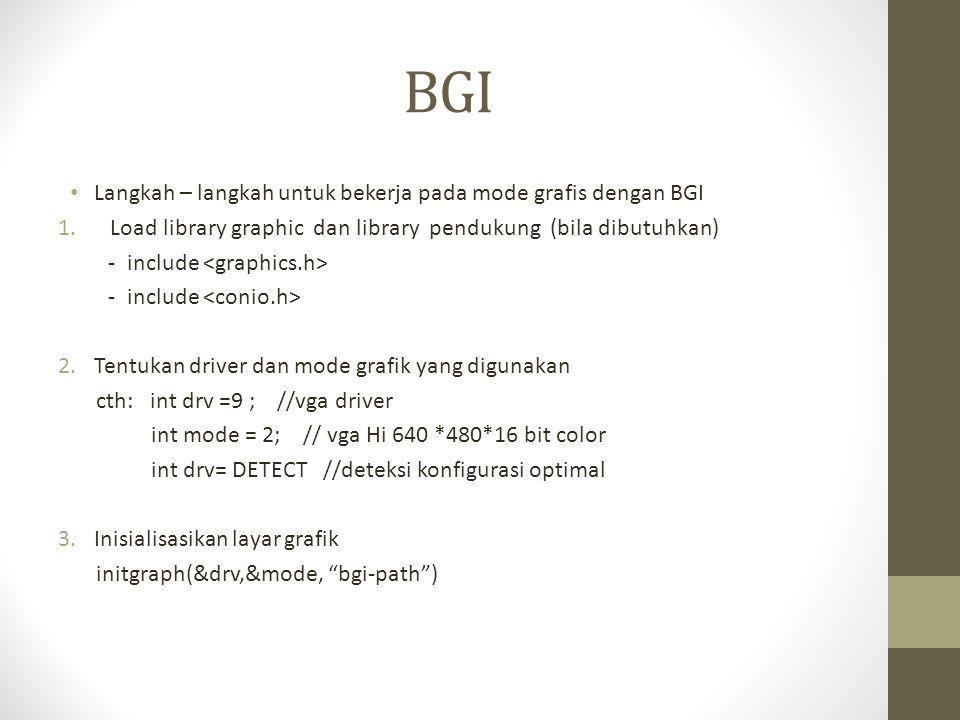 BGI Langkah – langkah untuk bekerja pada mode grafis dengan BGI