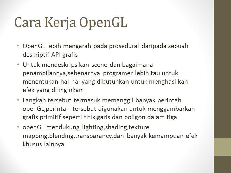 Cara Kerja OpenGL OpenGL lebih mengarah pada prosedural daripada sebuah deskriptif API grafis.