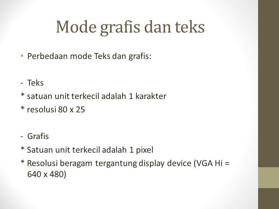 Mode grafis dan teks Perbedaan mode Teks dan grafis: - Teks