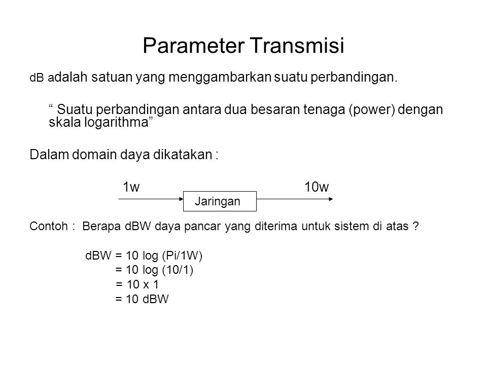 Parameter Transmisi dB adalah satuan yang menggambarkan suatu perbandingan.