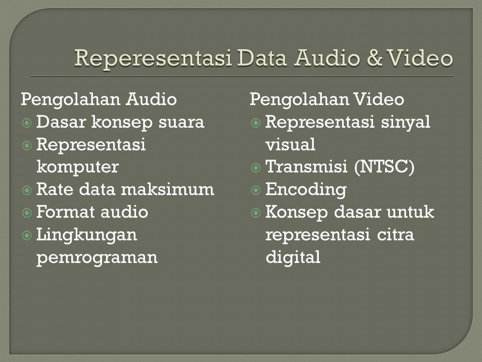 Reperesentasi Data Audio & Video