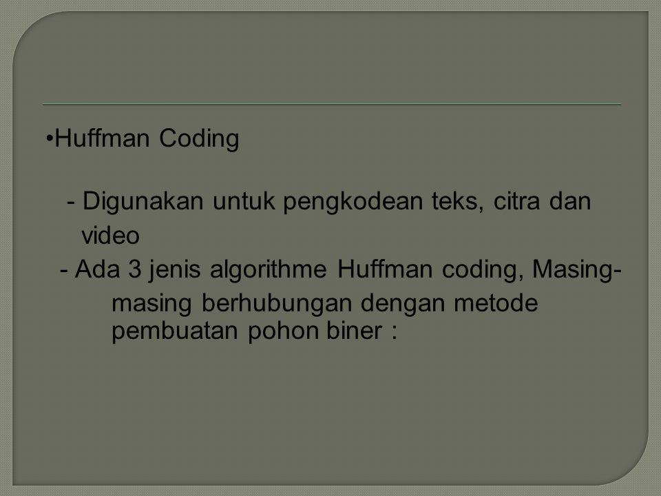 Huffman Coding - Digunakan untuk pengkodean teks, citra dan. video. - Ada 3 jenis algorithme Huffman coding, Masing-