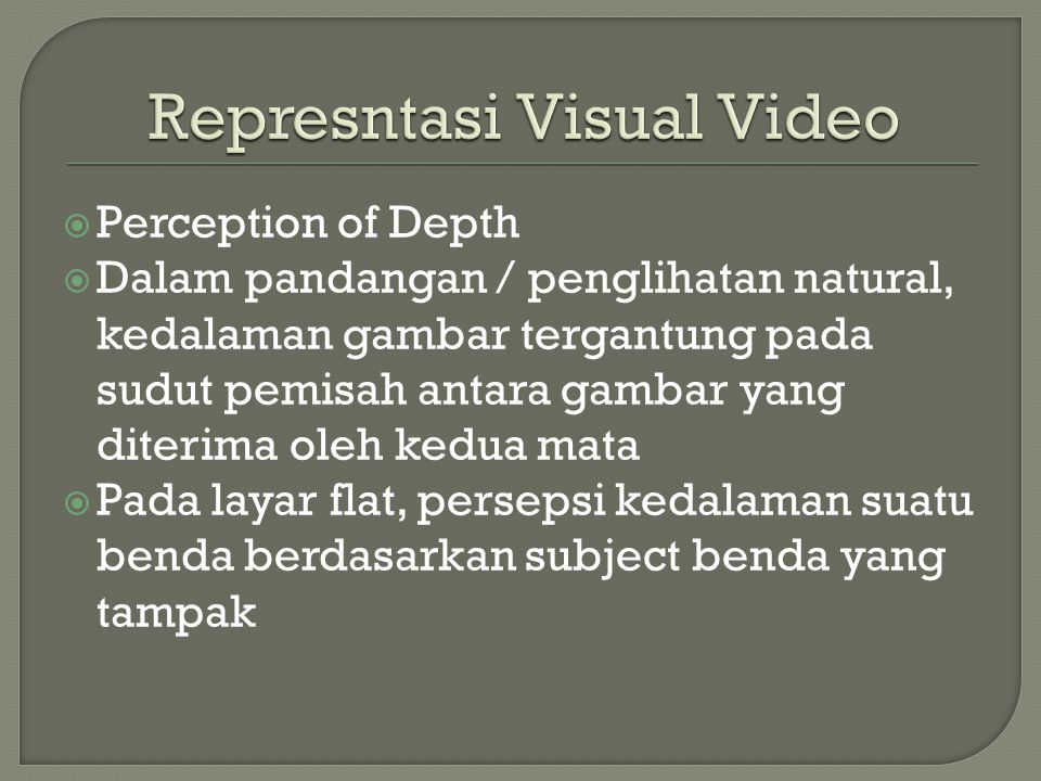 Represntasi Visual Video