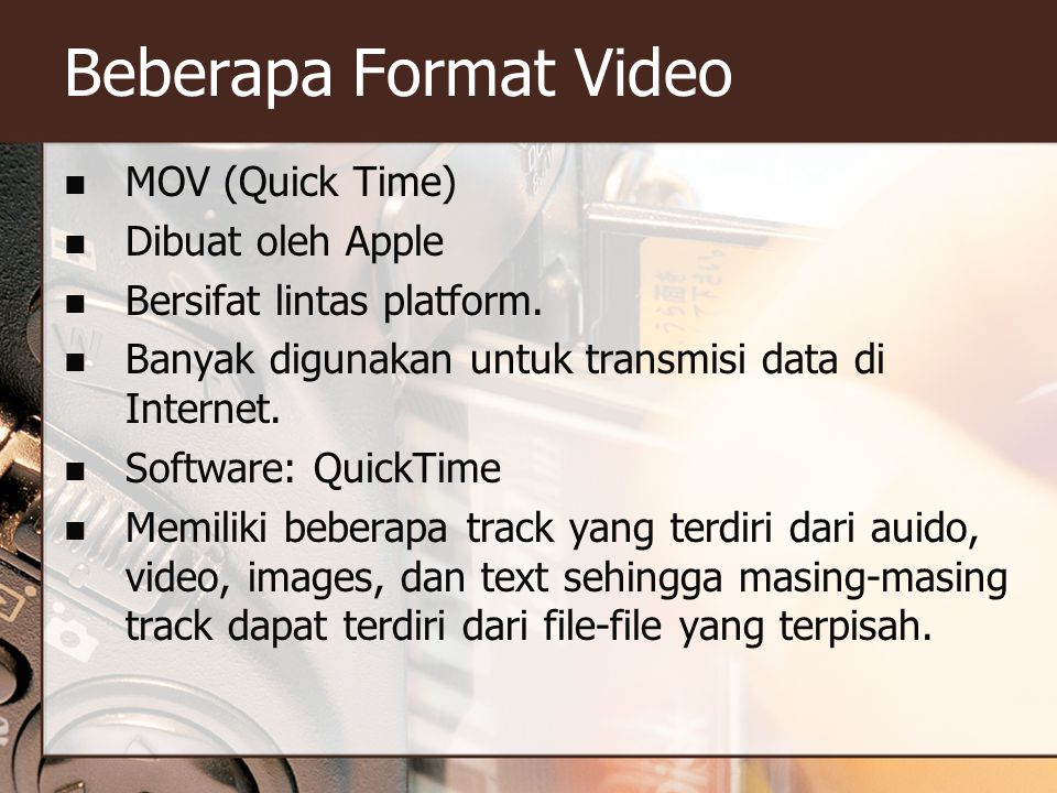 Beberapa Format Video MOV (Quick Time) Dibuat oleh Apple