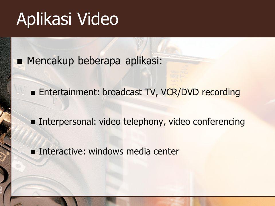 Aplikasi Video Mencakup beberapa aplikasi: