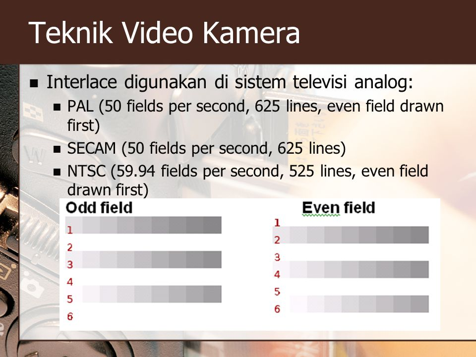 Teknik Video Kamera Interlace digunakan di sistem televisi analog: