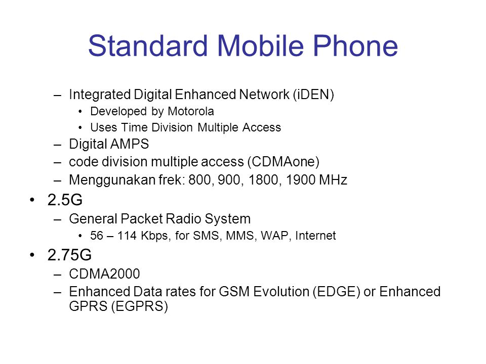 Standard Mobile Phone 2.5G 2.75G