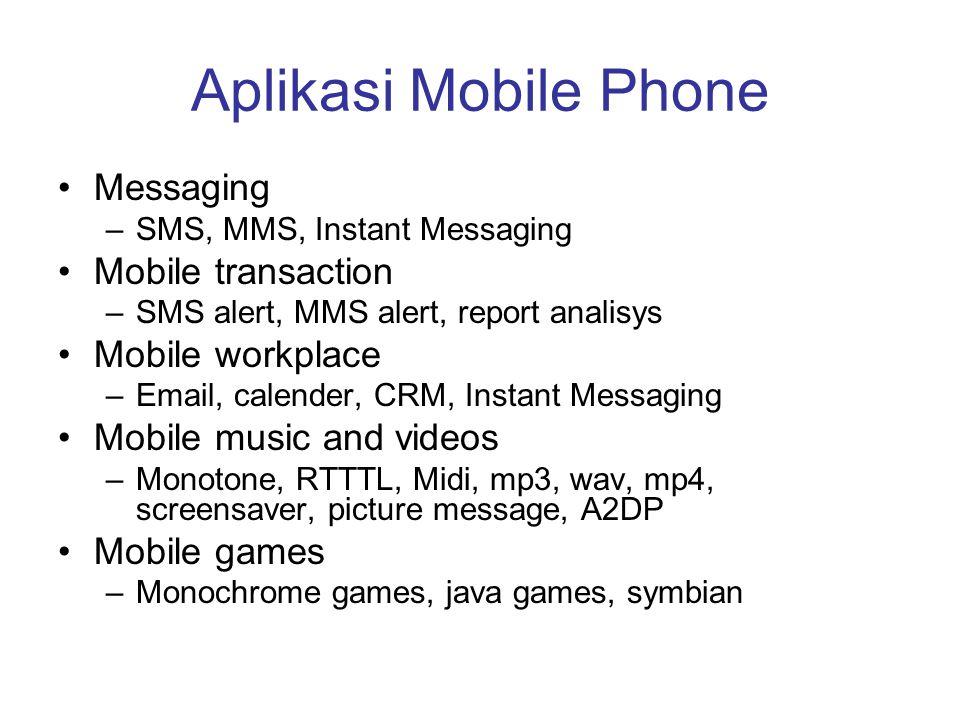 Aplikasi Mobile Phone Messaging Mobile transaction Mobile workplace