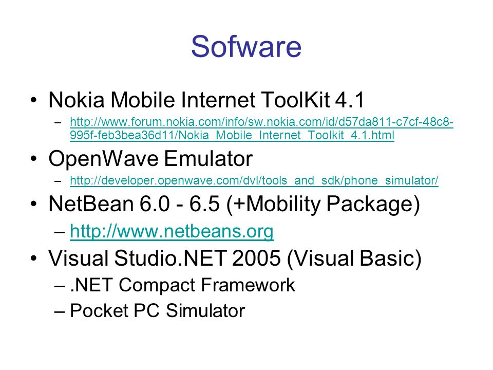 Sofware Nokia Mobile Internet ToolKit 4.1 OpenWave Emulator