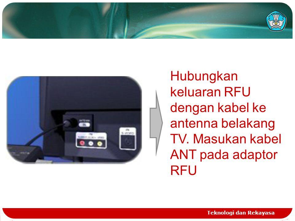 Hubungkan keluaran RFU dengan kabel ke antenna belakang TV
