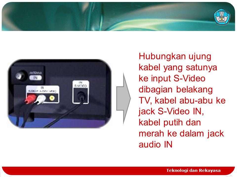 Hubungkan ujung kabel yang satunya ke input S-Video dibagian belakang TV, kabel abu-abu ke jack S-Video IN, kabel putih dan merah ke dalam jack audio IN