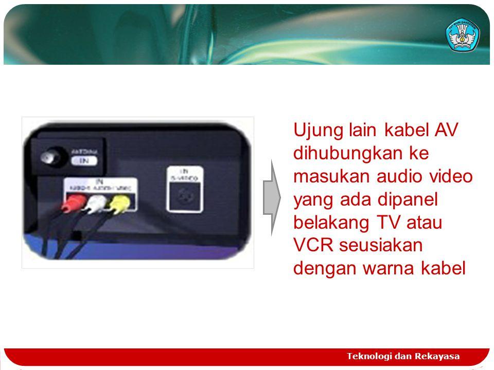 Ujung lain kabel AV dihubungkan ke masukan audio video yang ada dipanel belakang TV atau VCR seusiakan dengan warna kabel