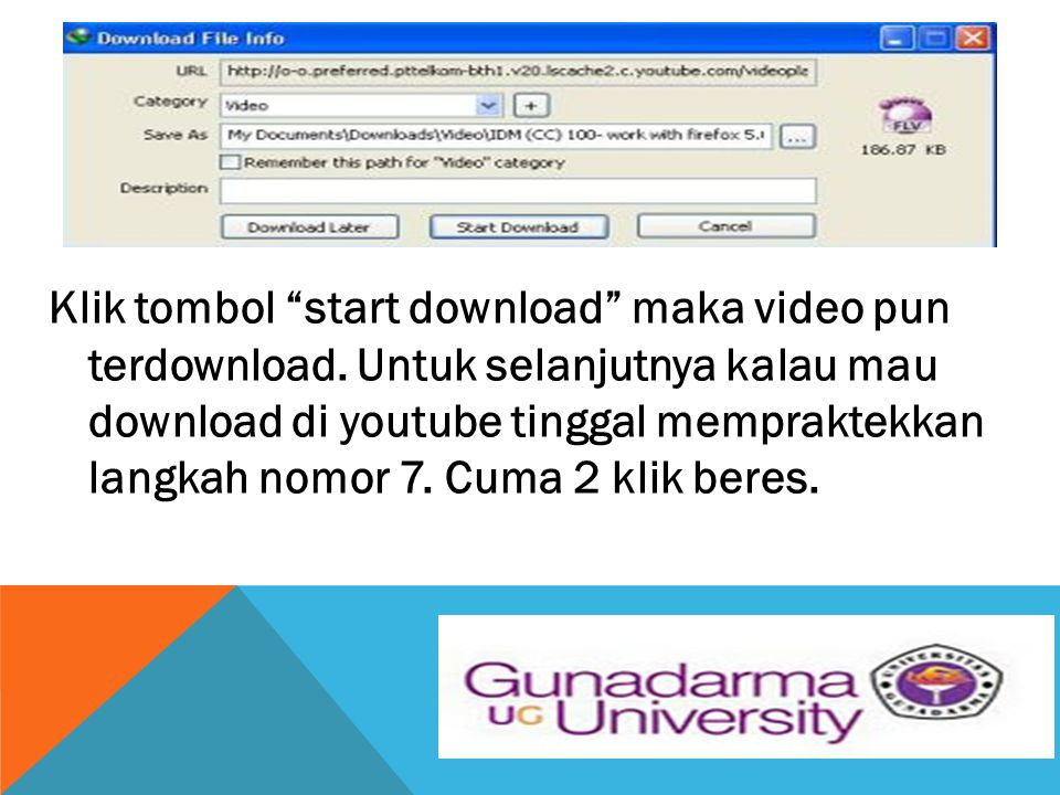 Klik tombol start download maka video pun terdownload