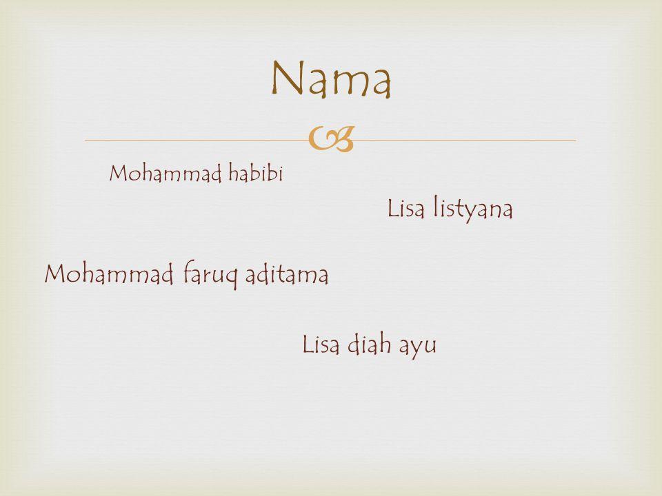 Nama Lisa listyana Mohammad faruq aditama Lisa diah ayu
