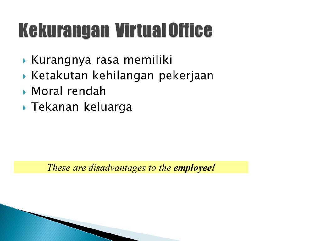 Kekurangan Virtual Office