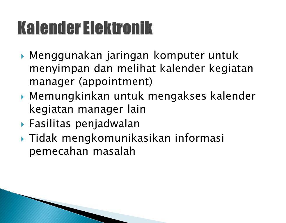 Kalender Elektronik Menggunakan jaringan komputer untuk menyimpan dan melihat kalender kegiatan manager (appointment)