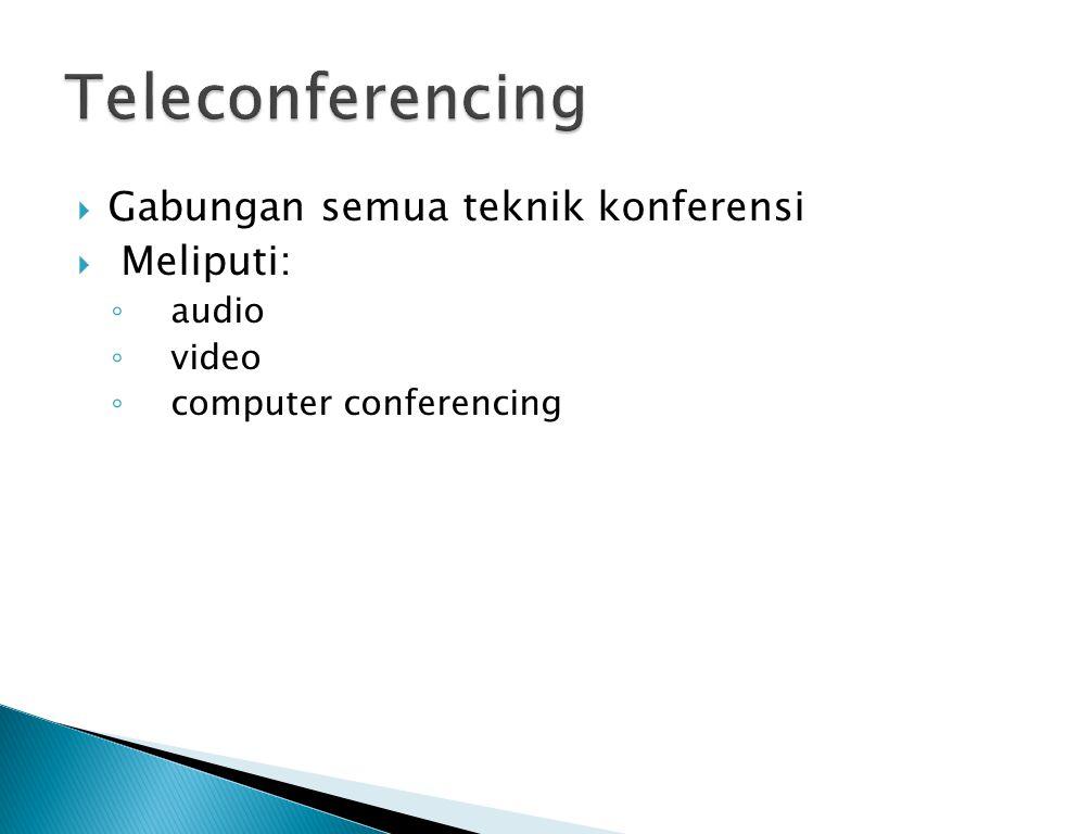 Teleconferencing Gabungan semua teknik konferensi Meliputi: audio