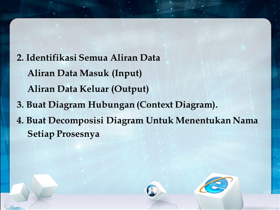 2. Identifikasi Semua Aliran Data Aliran Data Masuk (Input) Aliran Data Keluar (Output) 3.