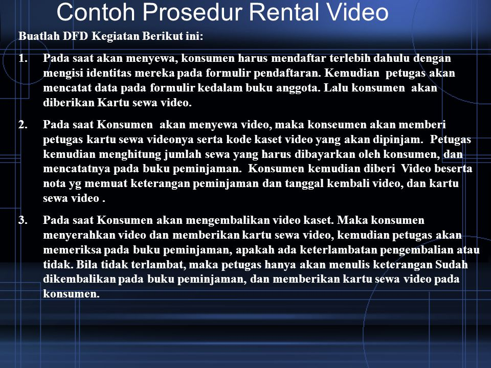 Contoh Prosedur Rental Video