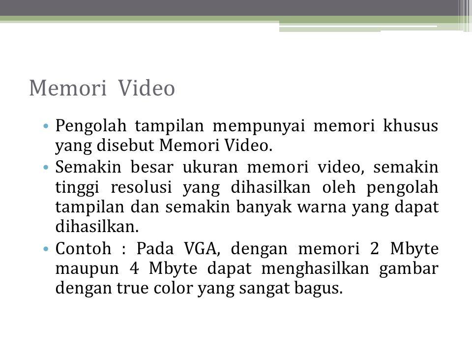 Memori Video Pengolah tampilan mempunyai memori khusus yang disebut Memori Video.