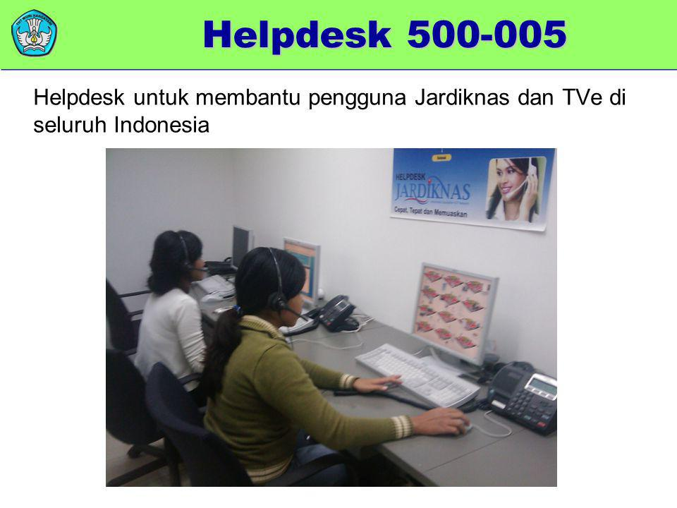 Helpdesk 500-005 Helpdesk untuk membantu pengguna Jardiknas dan TVe di seluruh Indonesia.