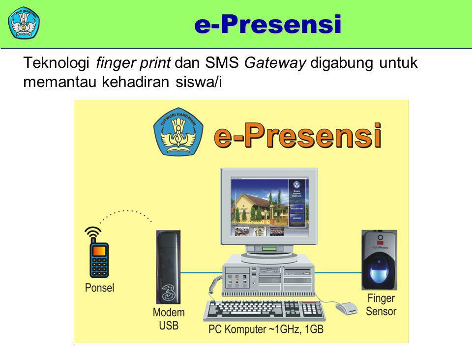 e-Presensi Teknologi finger print dan SMS Gateway digabung untuk memantau kehadiran siswa/i.