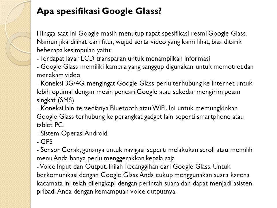 Apa spesifikasi Google Glass