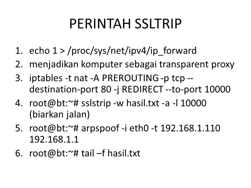 PERINTAH SSLTRIP echo 1 > /proc/sys/net/ipv4/ip_forward