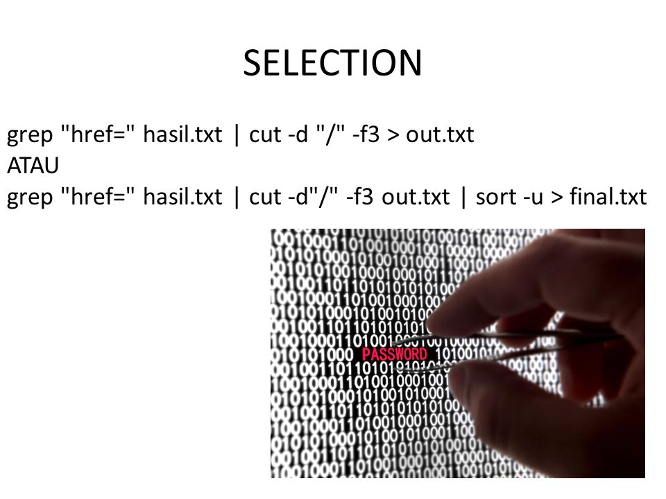 SELECTION grep href= hasil.txt | cut -d / -f3 > out.txt ATAU grep href= hasil.txt | cut -d / -f3 out.txt | sort -u > final.txt.