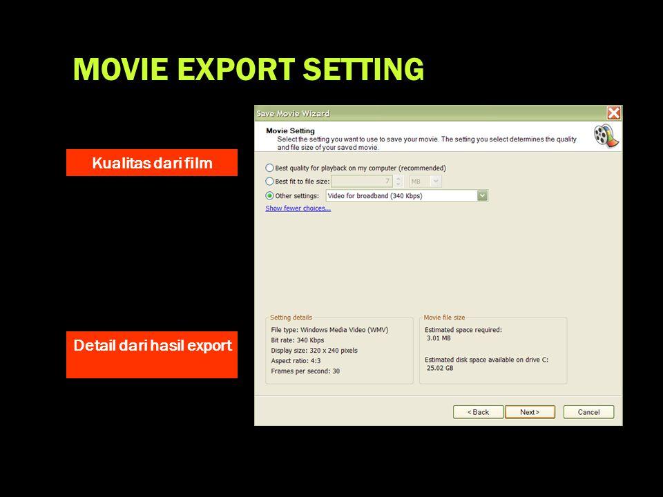 Detail dari hasil export