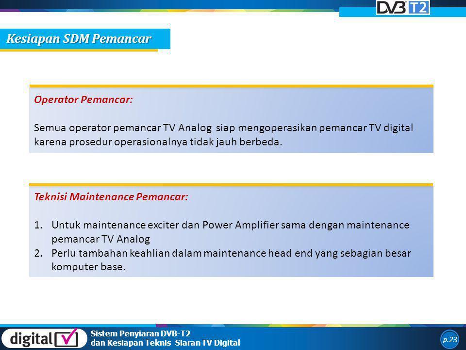 Kesiapan SDM Pemancar Operator Pemancar: