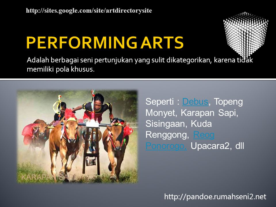 PERFORMING ARTS http://sites.google.com/site/artdirectorysite.