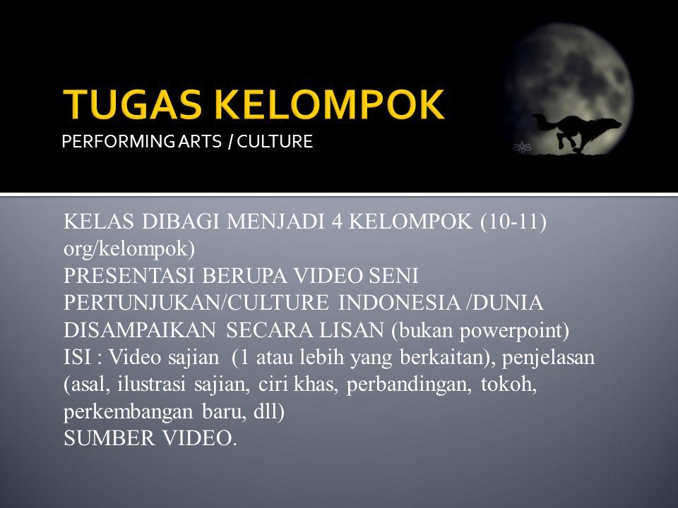 TUGAS KELOMPOK KELAS DIBAGI MENJADI 4 KELOMPOK (10-11) org/kelompok)